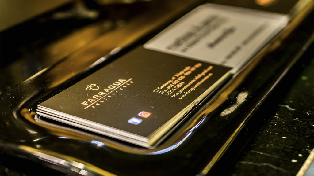 Tarjetas de visita de restaurante Farragua